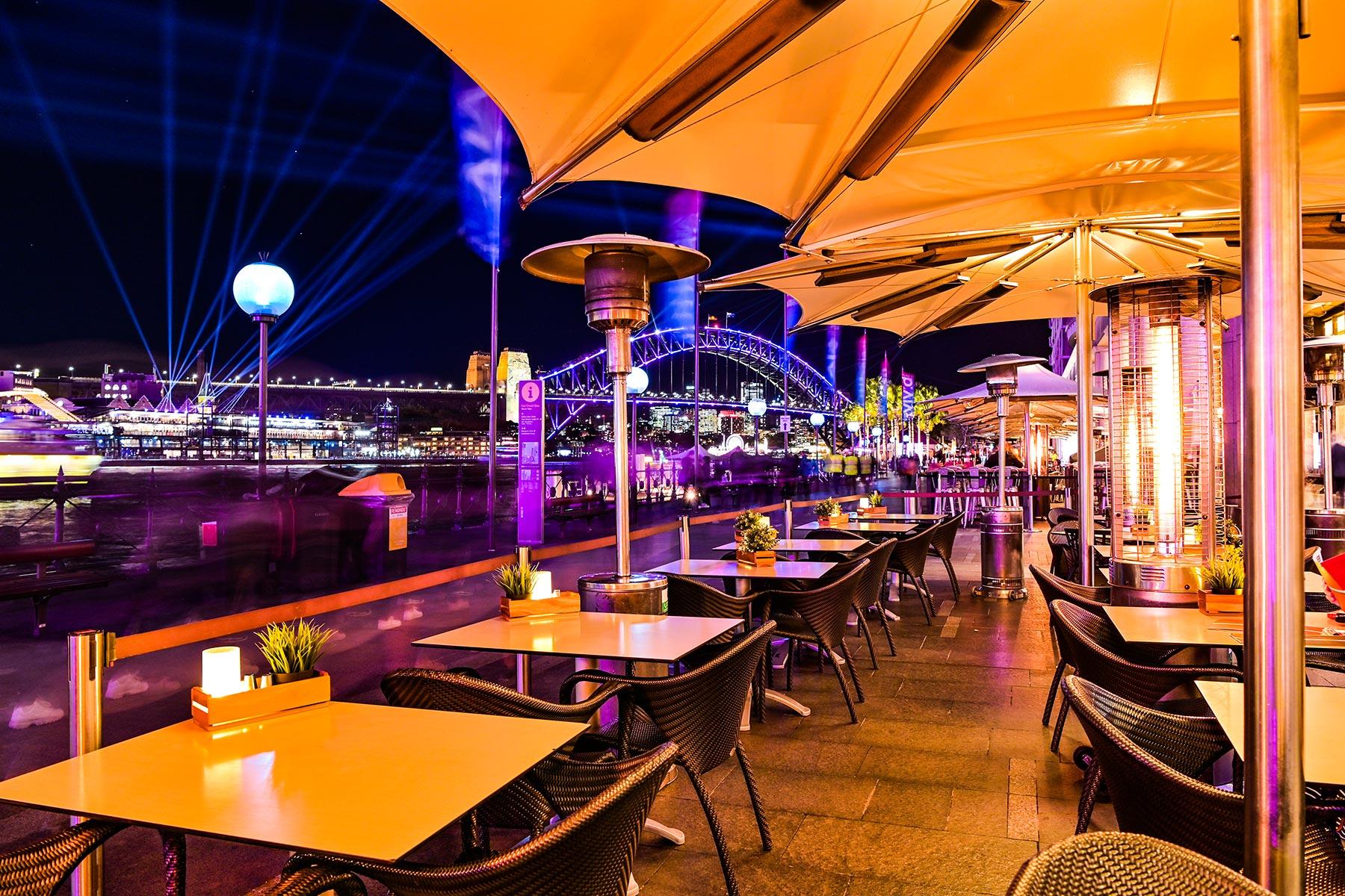 Eastbank Cafe Restaurant – nighttime on Circular Quay promenade, Vivid Festival