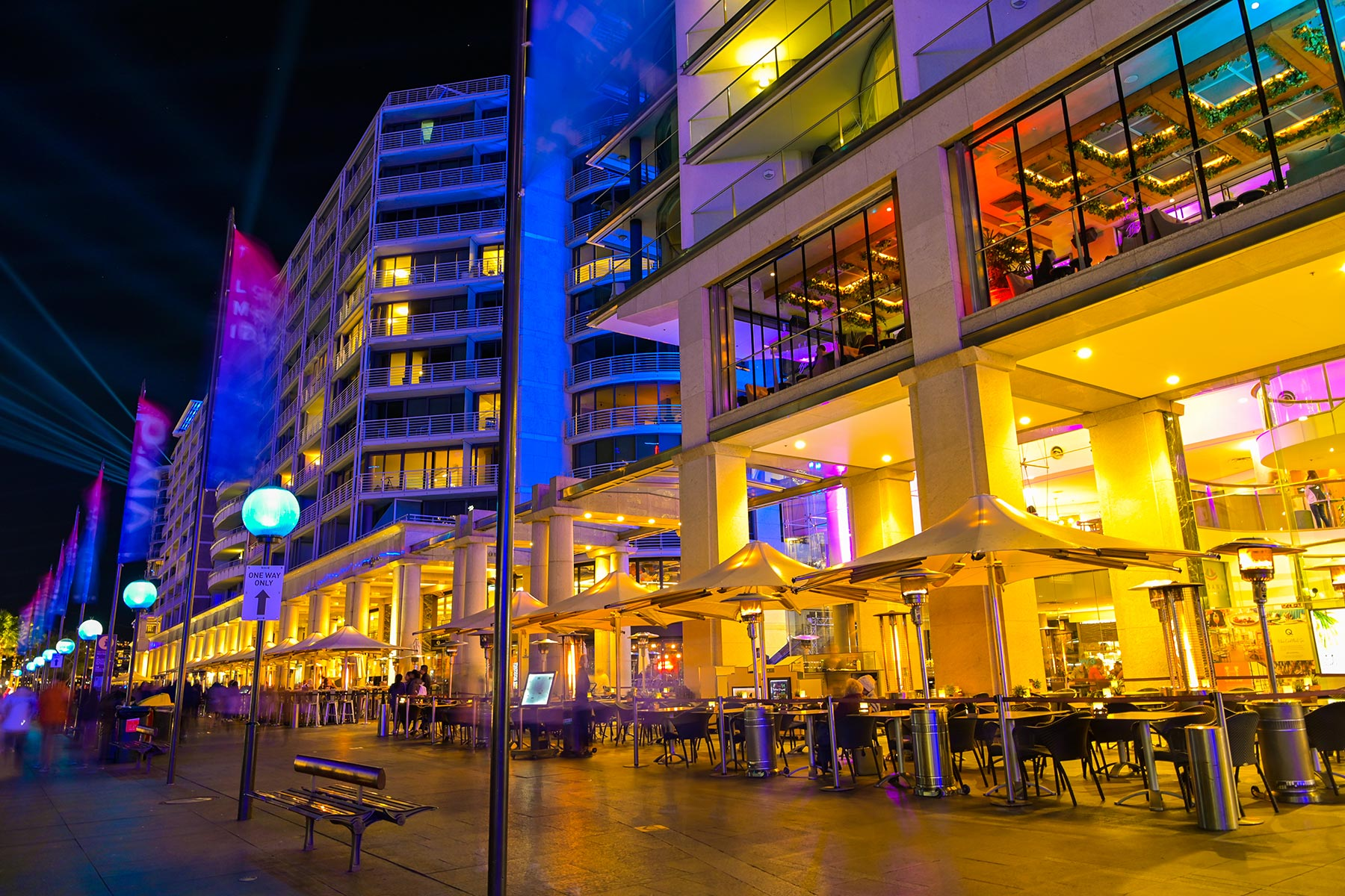 Eastbank Cafe Restaurant – nighttime on Circular Quay promenade, Vivid Festival