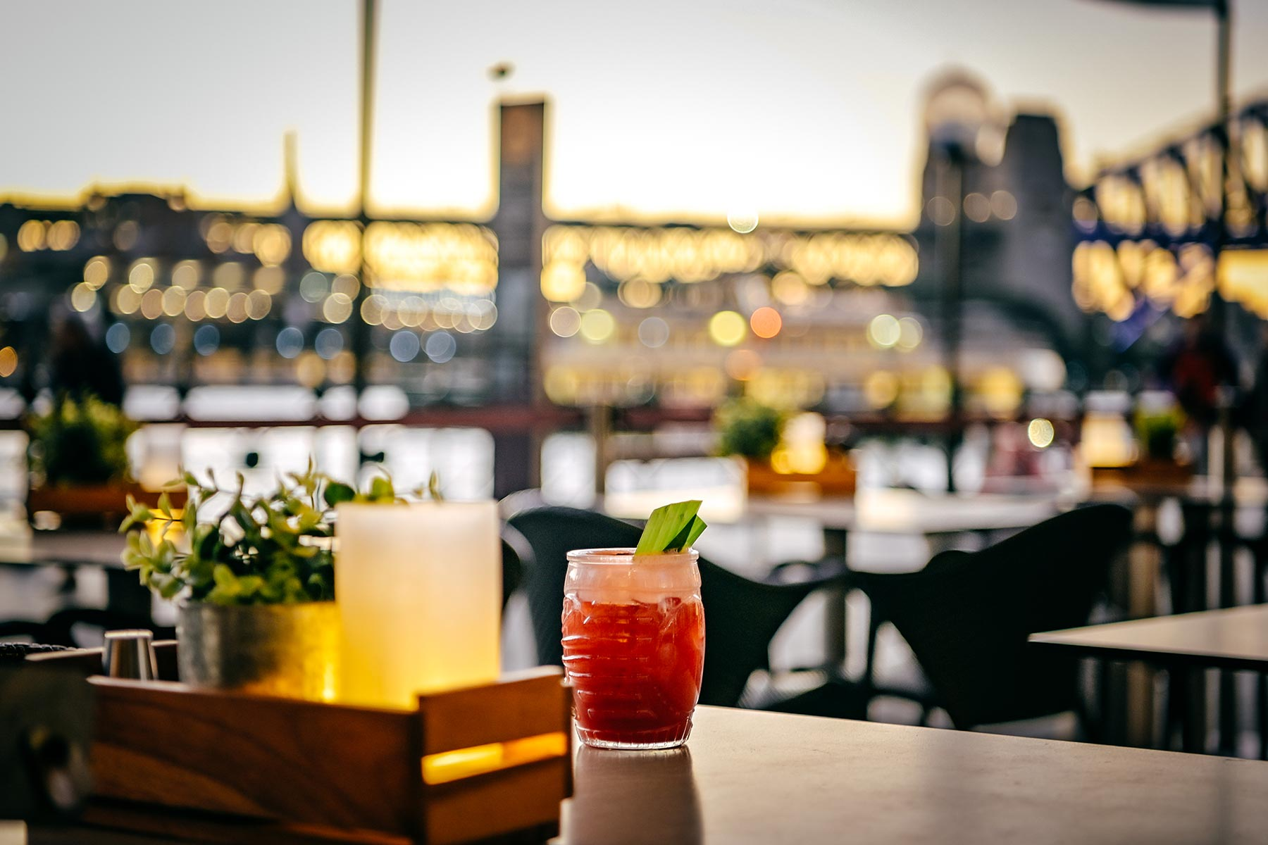 Eastbank Cafe Restaurant – cocktail on Circular Quay promenade at sunset